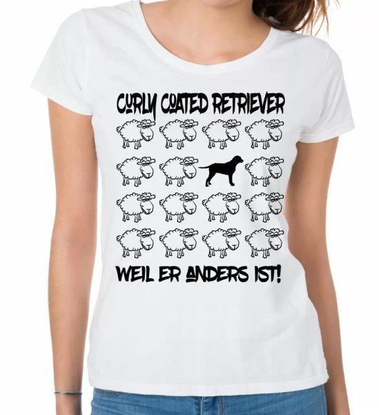 Curly Coated Retriever Ladies T-Shirt Black Sheep by siviwonder