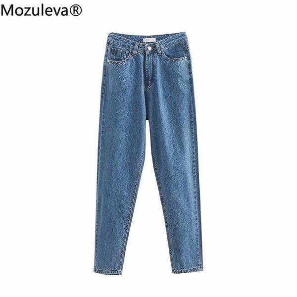Mozuleva 2021 Autumn Winter Cotton Full Length Pockets High Waisted Jeans Regular Woman Denim Jeans Female