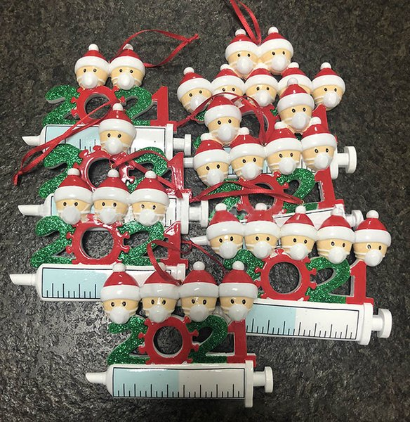 best selling 2021 Christmas Decoration Quarantine Ornaments Gift Family of 1-7 Heads DIY Tree Mask Syringe Cartoon Pendant Accessories Crafts With Rope