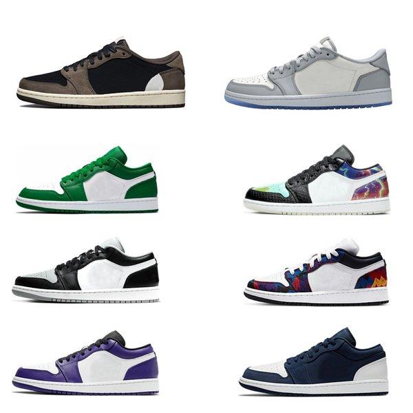 top popular Mens 1 Basketball Shoes Jumpman Low 1s Women Yellow Banned Bred Chicago Black Toe Court Purple Dark Mocha UNC Sneakers 2021