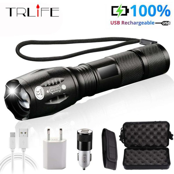 best selling LED usb Flashlight Lanterna LED L2 T6 Tactical Torch Zoom Power zaklamp Rechargeable Flashlights with 2400mAh battery 201207