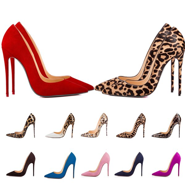 top popular Women Red Bottom Luxurys Designers Shoes Rivets High Heels Pointed Toes Suede Panther Leopard Print Snake Leather Pumps Lady Wedding Sandals 2021