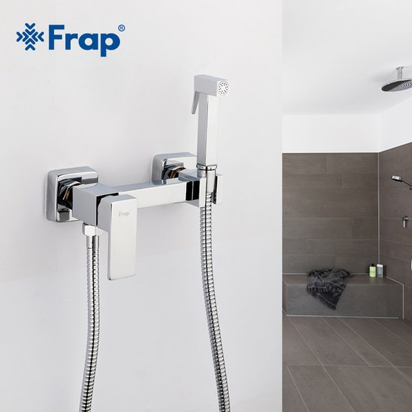 top popular Frap 6 styles Brass Single Cold & Cold hot Water Corner Valve Bidet faucets Function square Hand Shower Head Tap Crane for woman T200710 2021
