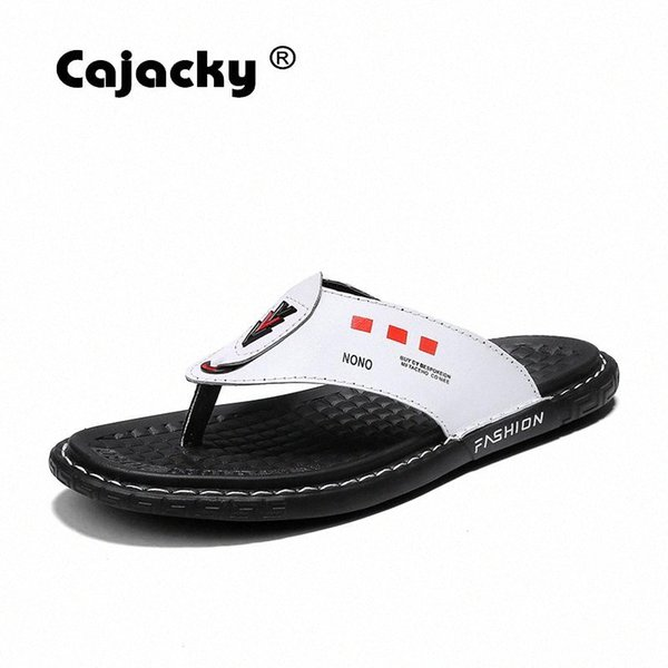 Cajacky Men Slippers Genuine Leather Men Flip Flops Summer Breathable Shoes Big Size 38 45 Indoor Slippers Sewing Flats 90RM#
