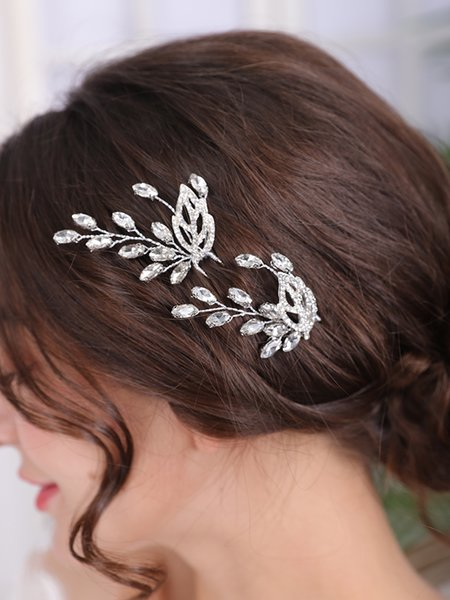 Silver Color Bride Hairpins Rhinestone Casual Headpieces Prom Party Hair Accessories Leaf Hair Jewelry Women Wedding Headdress