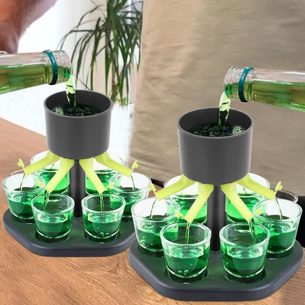 6 Shot Glass Games Dispenser Wine Whisky Beer Wine Liquor Dispenser Bar Accessories Party Games Drinking Tools Glass Dispenser