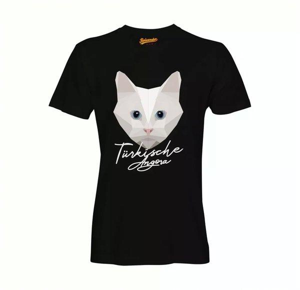 Turkish Angora T-Shirt Polygon Cat by siviwonder