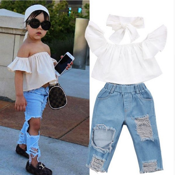 top popular Fashion trends Summer girls' Clothing Sets small and medium-sized children's one-shoulder white tops ripped jeans suits 2021