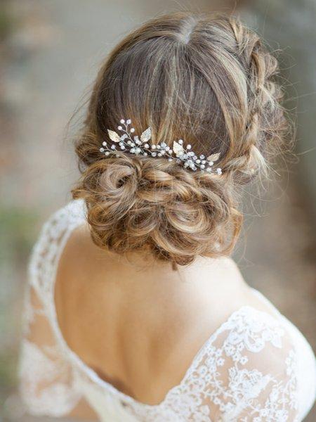 Vintage Silver Gold Hair pins 3PCS Headdress Handmade Elegant Banquet Headwear Wedding Bridal Hair Accessories party for women