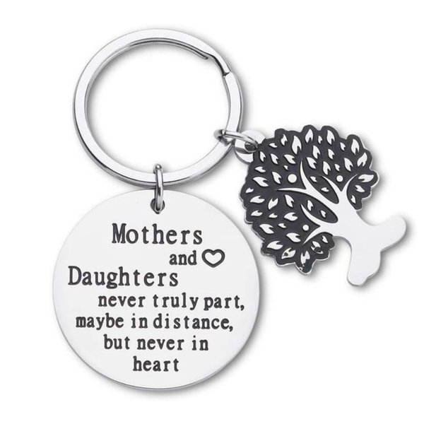 10Pieces/Lot Mothers Day Gifts Keychain for Mom Mothers and Daughters Never Truly Part Mom from Daughter Gifts For Women Birthday Keyring