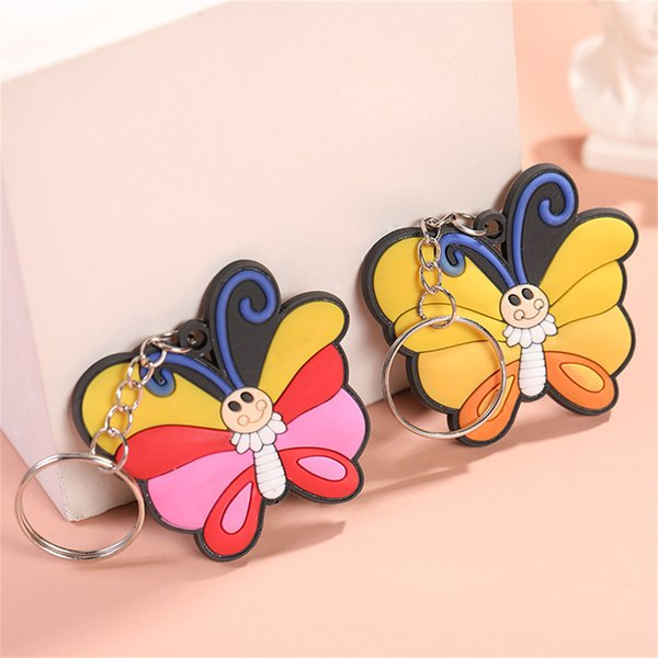 New Multicolor Soft PVC Butterfly Keychain Cute Bag Ornaments Keyring Fashion Accessories Fashion Accessories Keychains Key Rings