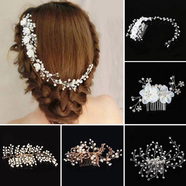 Elegant Bridal Wedding Crystal Pearl Flower Hair Pins Charm Handmade Bridal Hair Combs Fashion Hair Accessories Gifts 7C2043