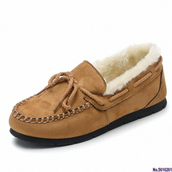 Women Flats Shoes Winter Casual Slip On Loafers Ladies Warm Fur Plush Shoes Moccasins Lady Driving c7LM#