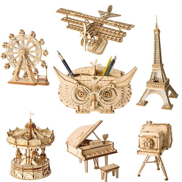 top popular DIY 3D Wooden Puzzle Assembly Model Plane Merry Go Round Ferris Wheel Toys For Children 2021