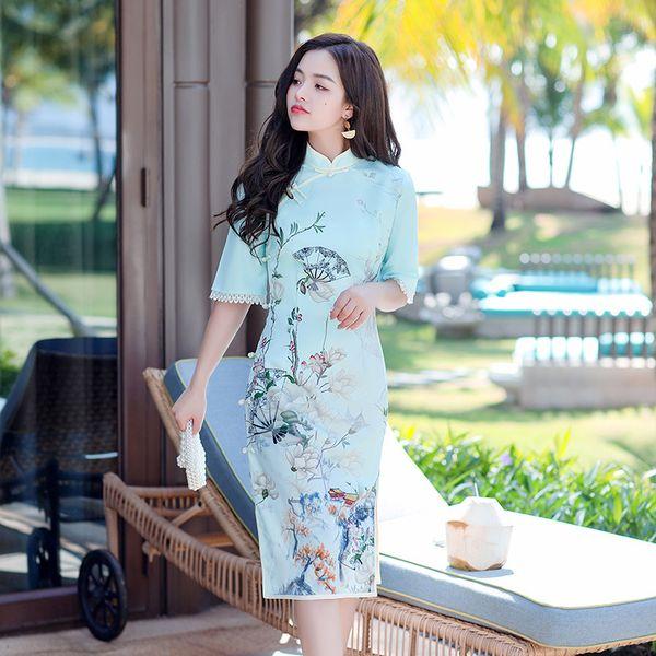 Summer Ice Silk Knee-Length Qipao Fan Flower Printed Lace Trim Half Sleeves Cheongsam Elegant Traditional Clothing Size S-3XL Apparel Ethnic Clothing DIY Clothing Mens Clothing Womens Clothing Ethnic Clothing