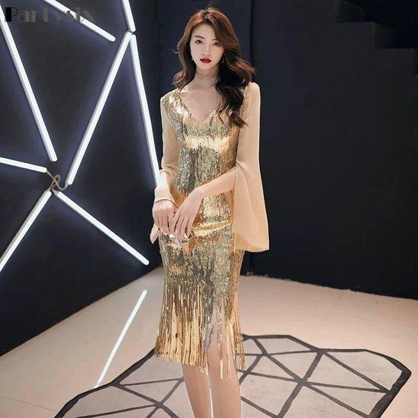 Partysix 2021 New Womens Black Sequin Dress Elegant Long Sleeve Dress Tassel Party Short Dress