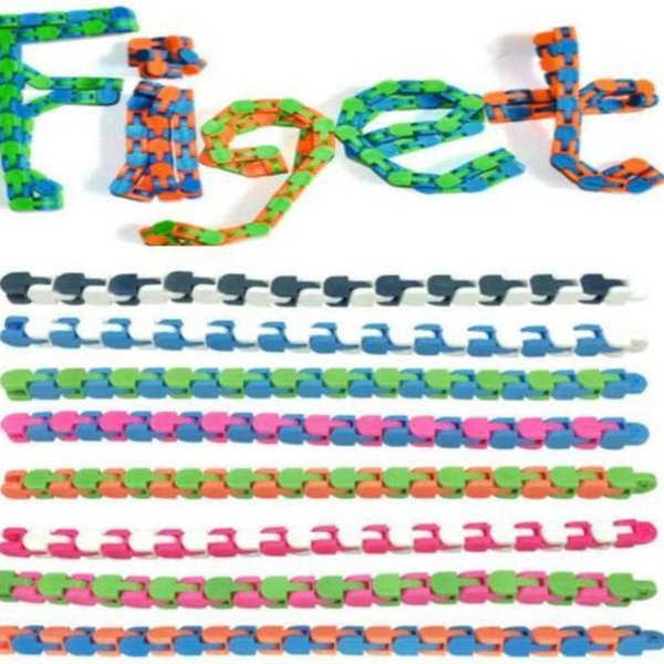 top popular 24 Links Wacky Tracks Snake Puzzle Snap And Click Sensory Fidget Toys Anxiety Stress Relief ADHD Needs Educational Party Keeps Fingers Busy 8 Colors DHL 2021