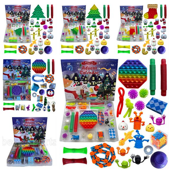 best selling Stock! 24pcs Set Christmas Fidget Toys Xmas Countdown Calendar Blind Boxes Sensory Pack 5 Styles Advent Calendar Christmas Box ZZA3433