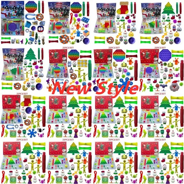 top popular 24 25 Days Christmas Fidget Toy Xmas Countdown Calendar Blind Boxes Push Bubbles Kids Gifts 10 Styles Advent Calendar Christmas Box 2021