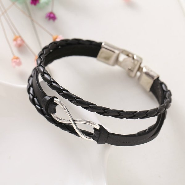 Charm Bracelets Fashion Eight cross leather bangle bracelets jewelry for women factory Price free I7QW 6AP0