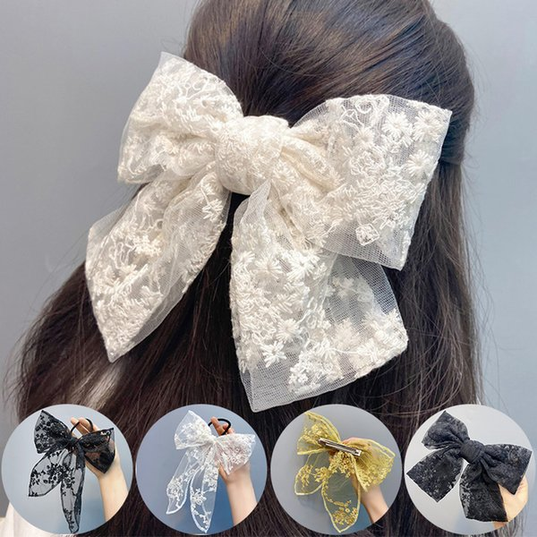 Hairpins Korean Fashion Barrette Hair Accessories Multi-layer Bow Lace Spring Clip Embroidery Top Clip Ponytail Elegant Hairclip
