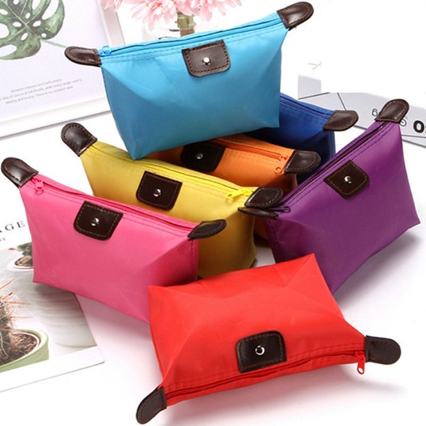 best selling Top Quality Lady MakeUp Pouch Waterproof Cosmetic Bag Clutch Toiletries Travel Kit Casual Small Purse Candy Sport 9 Colors ZWL273