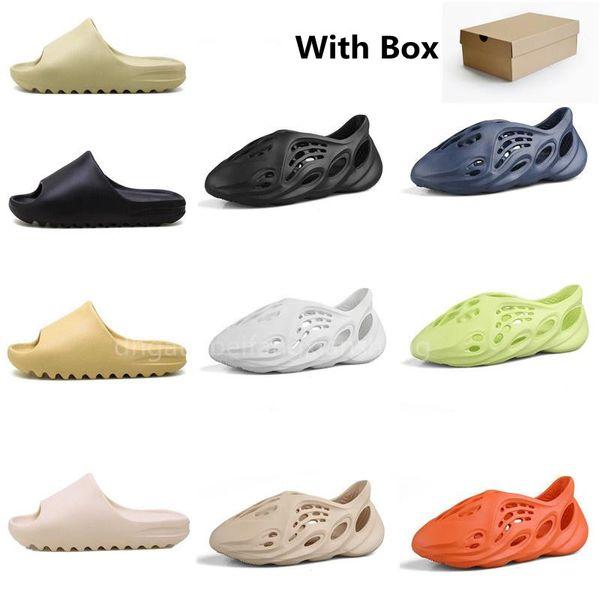 top popular Slide Mens Rubber Slippers Womens Sandals Sand Brown Resin Desert Shoes Three color Black Coal Ash Bone White Slipper Beach Sneakers Foam Heatshoes 2021
