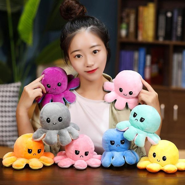 top popular Tiktok Flip Double-sided Octopus Stuffed Plush Toys For Children Cute Angry Smile Emotion Reversable Christmas Gift Animal Plush Doll Kids Gift 2021