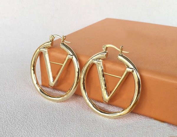 top popular 2021 gold hoop earrings for lady Women Party Wedding Lovers gift engagement Jewelry Bride with box 2021