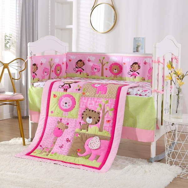 Animalbaby bedding set Baby Crib Bedding Set - 100% Cotton -7 Piece Nursery Crib Bedding Sets for Girls kit de bero