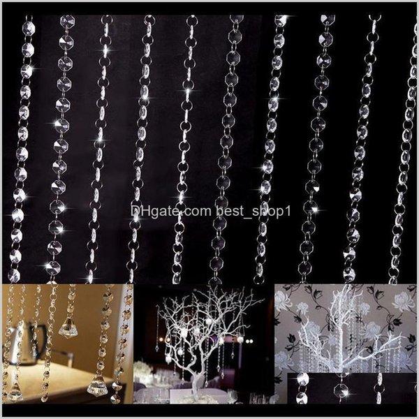 top popular Drapes Diy Acrylic Crystal Beads Thread Curtain Iridescent Garland Strand Shimmer Door Curtains Wedding Party El Decor Diamond Vcivw V5Klj 2021