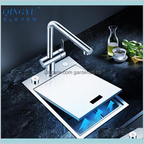 top popular Kitchen Sinks Fixtures Building Supplies Home & Garden Handmade Brushed Sink 304 Stainless Steel 4Mm Thickness Above Mount Installatio 2021