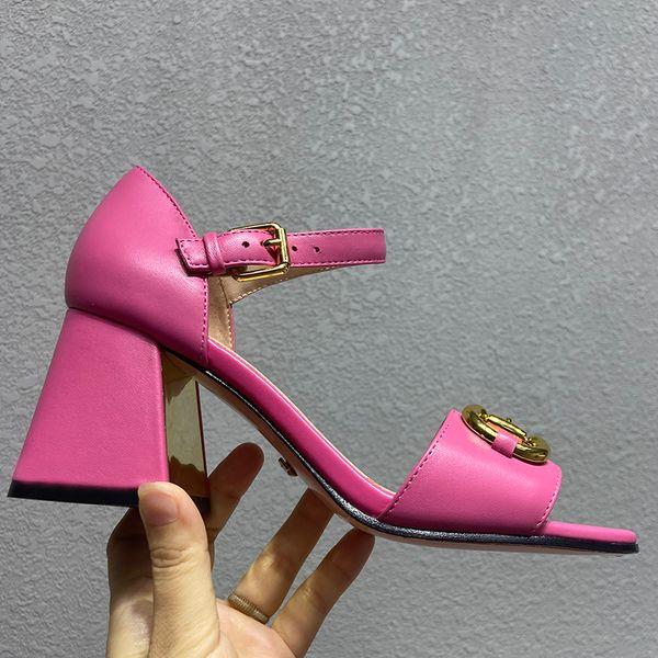 best selling summer Luxury High quality heels Sandals women designer Fashion Sliders Denim Blue chunky heel Shoes Genuine Leather Heeled shoe
