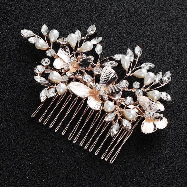 Gold Flower Wedding Hair Accessories Hair Clip Comb Bridal Hair Piece Wedding Headband Crystal Pearls Headpiece