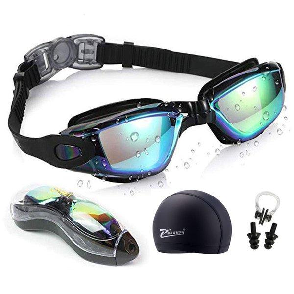 top popular Swim Goggles Anti-fog UV Swim Caps Professional Silicone Swimming Glasses Case Nose Earplug for Kids Men Women Diving Eyewear 2021