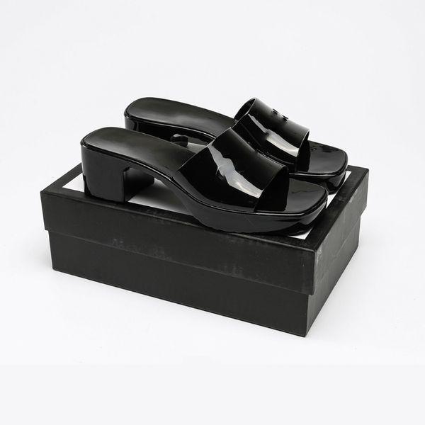 Women Slippers High Heels Rubber Slide Sandal Black White Yellow Red Blue Pink Green Platform Slipper Chunky 2.4 Heel height Shoes