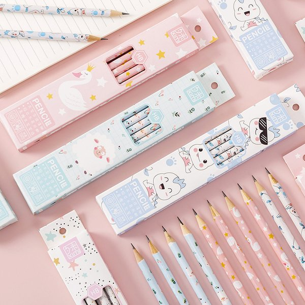 best selling Pencils Creative cartoon box HB primary school student prize not easy to break the lead with eraser learning stationery