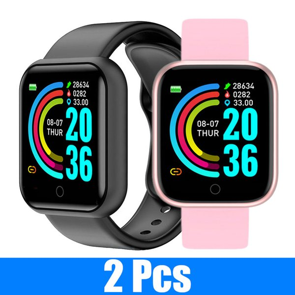 best selling 2 PCS Y68 Smart Watches Men Applewatch Fitness Tracker Compatible iPhone and Android Phones Watches Round Smartwatch Heart Digital Watch