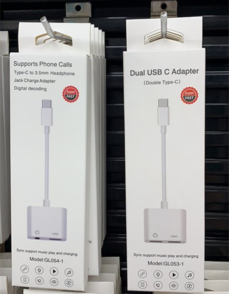 best selling with package 2 In 1 Dual Type-C DAC Jack earphone Adapter For Samsung S20 note10 Huawei xiaomi LG USB-C Type C to 3.5mm AUX Audio Headphones Splitter Charging Converter