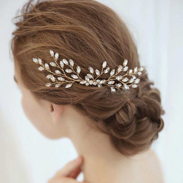 Bride Wedding Gold Rhinestones Hair Comb Hair Accessories with Crystal Bridal Side Combs Headpiece for Women