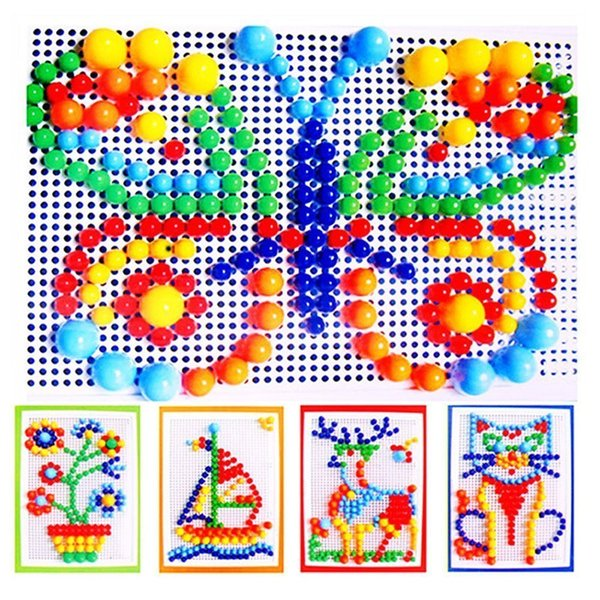 best selling 296 Mushroom Nail Puzzle Educational Didactical intelligent Games DIY Plastic Flashboard Children Educational Toys Random Color