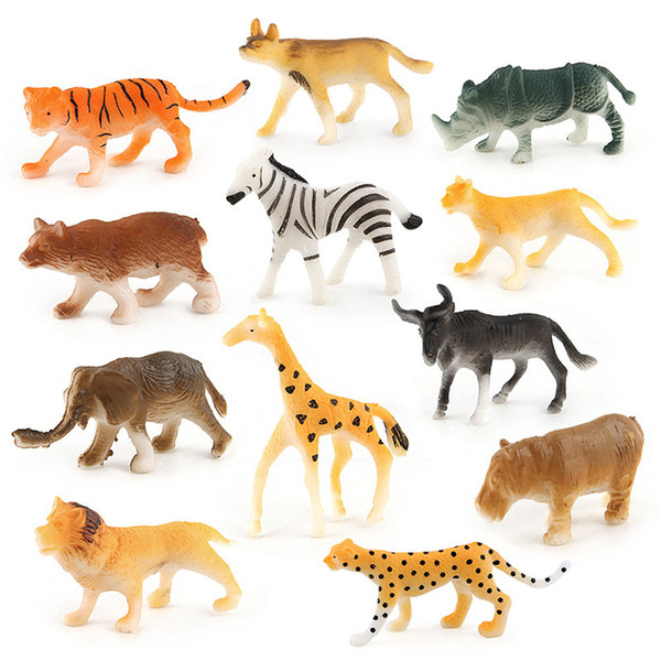 Education For Kids Fun Learning Toys For Children 12pc Kids Childrens Assorted Plastic Toy Wild Animals Jungle Zoo Figure