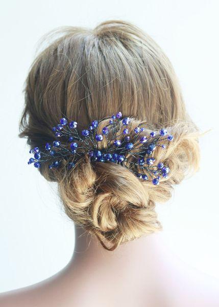 Bridal Black Blue Hair Comb Bridal Headpiece Bridal Hair Piece Wedding Hair Piece Wedding Headpiece Wedding Comb
