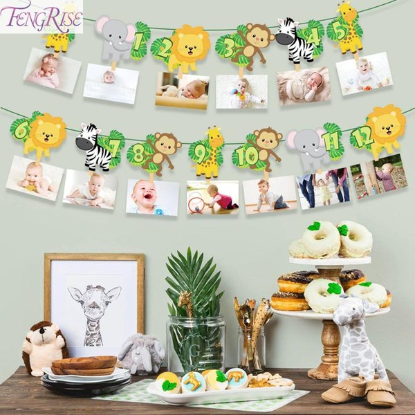 top popular Happy Birthday Party Decorations Kids Banner Safari Jungle Party Animal Banner Party Favors Baby Birthday Decor Garland 2021
