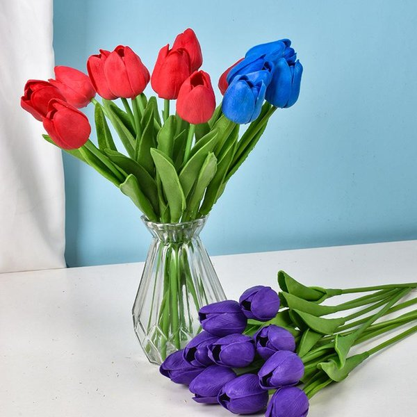 top popular PU mini tulip artificial wedding decoration silk flower home artificials plant Fashion furnishing articles 2021