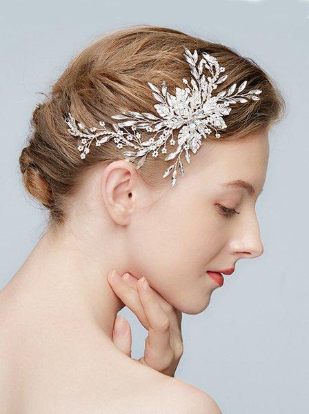 Bridal Wedding Prom Silver Leaf Rhinestones Headband Headpiece Bridal Hair Accessories Headband for Women and Girls