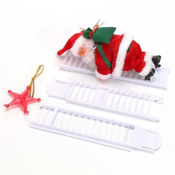 Xmas Music Figurine Party Decor Electric Climbing Ladder Santa Claus Christmas