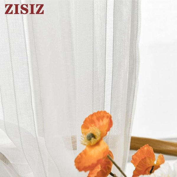 top popular Curtain & Drapes Cotton White Striped Tulle Curtains For Bedroom Window Sheer Living Room Voile Custom Made 2021