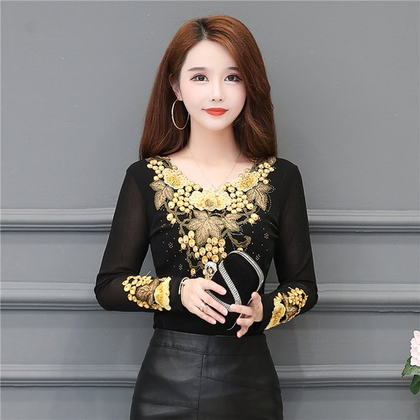 New Womens Spring Autumn Lace Shirts Womens Shirt Embroidery Casual Blouses Turtleneck Temperament Womens Tops DD8286
