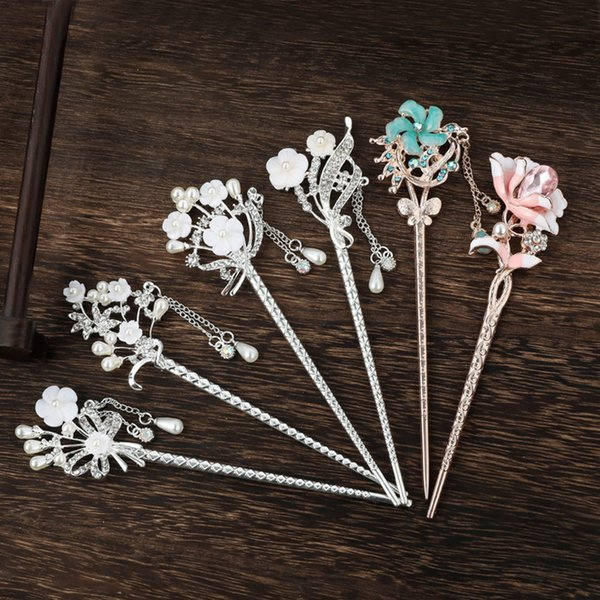 Chinese Style Flower Simulated Pearls Tassel Hair Clasp Hair Sticks Hairpin Women Girl Wedding Party Hair Jewelry Headwear